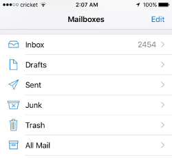 Screenshot of iPhone mailboxes screen